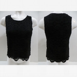 Forever 21 top Medium black floral lace lined